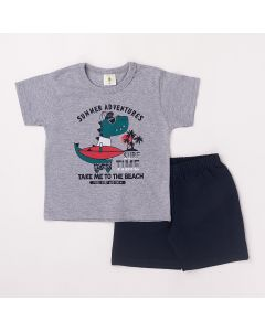 Conjunto Curto Infantil Datitia Camiseta Summer Adventures em Meia Malha Mescla e Bermuda em Tactel Marinho