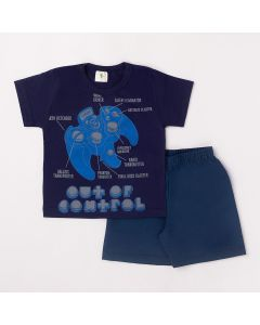 Conjunto Curto Infantil Datitia Camiseta Out Of Control em Meia Malha Marinho e Bermuda em Tactel