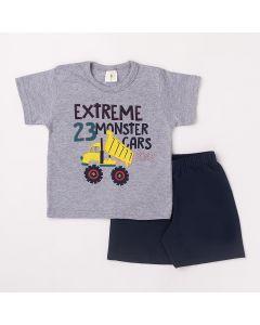 Conjunto Curto Infantil Datitia Camiseta Extreme em Meia Malha Mescla e Bermuda em Tactel Marinho
