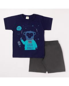 Conjunto Curto Infantil Datitia Camiseta Monkey em Meia Malha Marinho e Bermuda em Tactel Chumbo