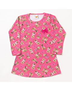 Vestido Infantil Pimentinha Manga Longa Dogs em Cotton Estampado Rosa