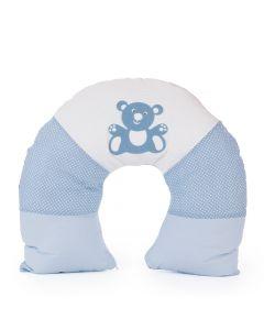 Almofada de Amamentação Cor Azul Detalhe Ursinho