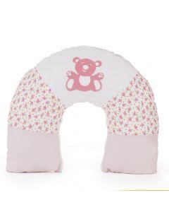 Almofada de Amamentação Cor Rosa Detalhe Ursinho