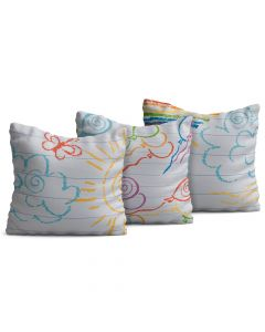 Kit com 3 Almofadas Decorativas Infantil Rabiscos