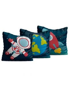 Kit com 3 Almofadas Decorativas Infantil Space