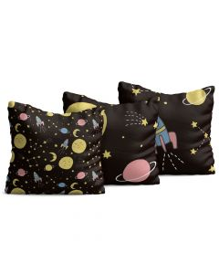 Kit com 3 Almofadas Decorativas Infantil Space Preta