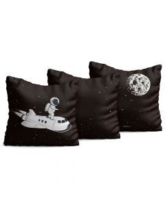 Kit com 3 Almofadas Decorativas Infantil Astronauta Preta