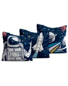 Kit com 3 Almofadas Decorativas Infantil Astronauta Marinho