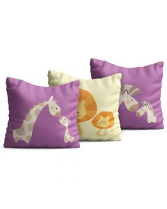 Kit com 3 Almofadas Decorativas Infantil Giraffe and Lion