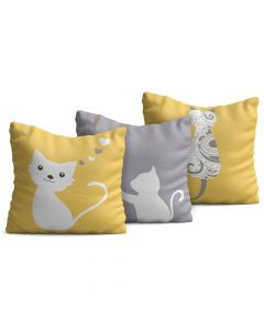Kit com 3 Almofadas Decorativas Infantil Cats