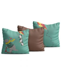 Kit com 3 Almofadas Decorativas Infantil Penguins
