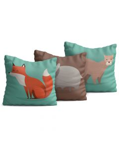 Kit com 3 Almofadas Decorativas Infantil Wild Animals