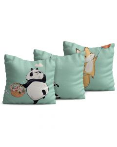 Kit com 3 Almofadas Decorativas Infantil Animals Verde Oliva