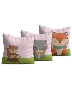 Kit com 3 Almofadas Decorativas Infantil Little Fox