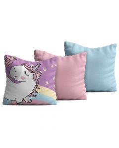 Kit com 3 Almofadas Decorativas Infantil Uni Colorido