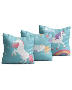 Kit com 3 Almofadas Decorativas Infantil Wild Unicorn