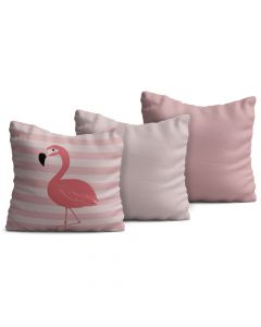 Kit com 3 Almofadas Decorativas Infantil Flamingo