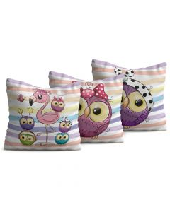 Kit com 3 Almofadas Decorativas Infantil Little Pets