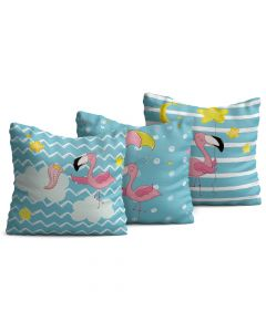 Kit com 3 Almofadas Decorativas Infantil Flamingo Azul