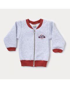 Jaqueta Infantil Bomber para Bebê Menino Cinza com Zíper
