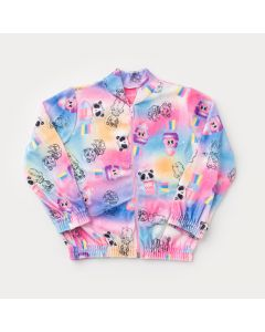 Jaqueta Bomber Tie Dye Panda para Menina