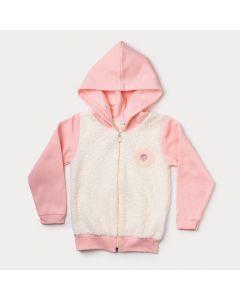Jaqueta de Moletom Infantil Feminina Rosa com Frente em Pelinho