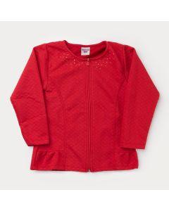 Jaqueta em Matelassê Vermelha com Zíper Infantil Feminina