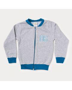 Jaqueta Infantil Masculina de Moletom Cinza com Azul
