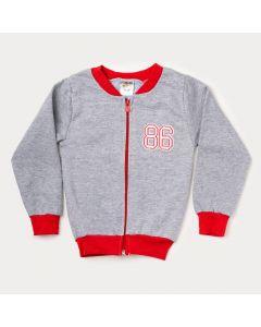 Jaqueta de Moletom Infantil Masculina Cinza Com Vermelho
