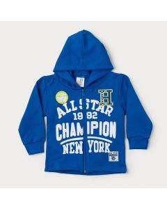 Jaqueta de Moletom Azul para Menino com Capuz Estampada