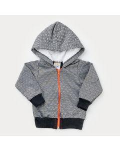 Jaqueta em Moletom Cinza Listrada com Capuz Peluciado Bebê Menino