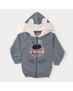 Jaqueta em Moletom Cinza com Capuz Peluciado Urso para Menino