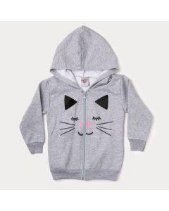 Jaqueta Infantil Feminina Mescla com Estampa de Gato
