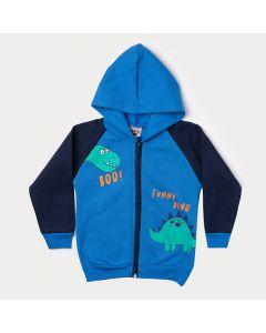 Jaqueta Infantil Masculina Azul com Estampa de Dinossauro