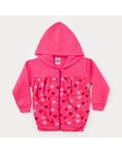 Jaqueta de Moletom Pink para Menina com Estampa de Coração e Capuz