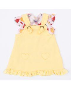 Jardineira Amarela com Blusa Rosa Frutinhas para Bebê Menina