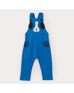 Jardineira em Moletom Azul Cachorrinho para Bebê Menino