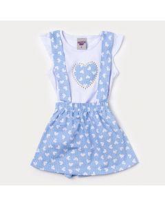 Jardineira Azul Infantil Feminina com Blusa Branca de Coração