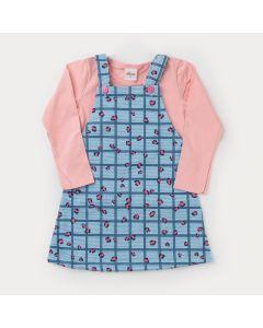 Jardineira de Frio Azul e Blusa Manga Longa Rosa para Menina