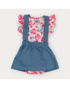 Jardineira Jeans Azul Claro para Bebê Menina e Body Pink Estampado