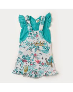 Jardineira Verde Estampada com Blusa Verde para Bebê Menina