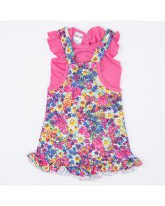 Jardineira para Bebê Menina Pink Floral com Blusa Básica
