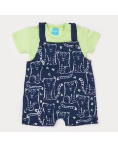 Jardineira de Verão para Bebê Menino Marinho Estampado Camiseta Verde