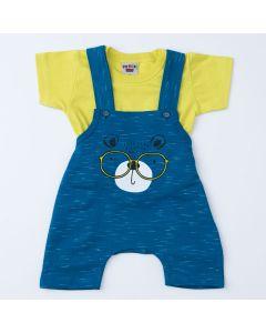 Jardineira Marinho Urso para Bebê Menino com Blusa Verde