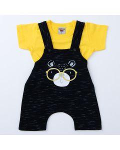 Jardineira Preta Urso para Bebê Menino com Blusa Amarela