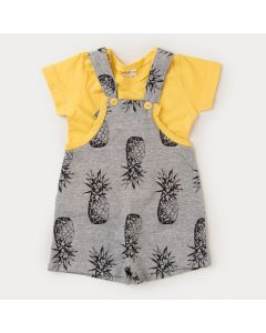 Jardineira para Bebê Menino Cinza Abacaxi e Camiseta Básica Amarela