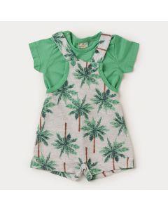 Jardineira para Bebê Menino Cinza Coqueiro e Camiseta Básica Verde