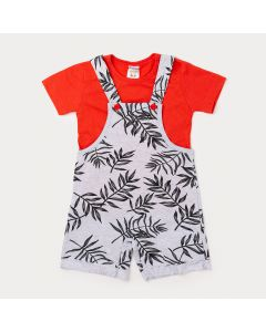 Jardineira Infantil Masculina Cinza Estampada com Camiseta Vermelha