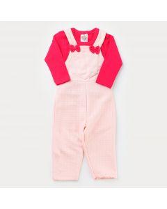 Jardineira Salmão de Inverno Bebê Menina com Blusa Básica Pink