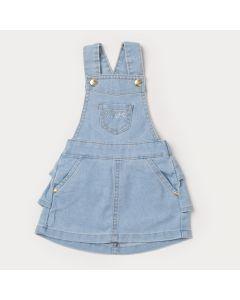 Jardineira Jeans de Verão Azul Claro para Menina com Bolso